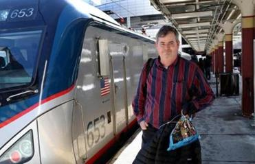 BOSTON, MA - 2/10/2017:Passenger Kurt Hellauer (cq) of Andover was on the train stuck. At South Station Amtrak passengers headed to Boston were stuck without heat for hours. Passengers aboard a Boston-bound Amtrak train say they were stuck in the Bronx for around five hours without heat. (David L Ryan/Globe Staff Photo) SECTION: METRO TOPIC